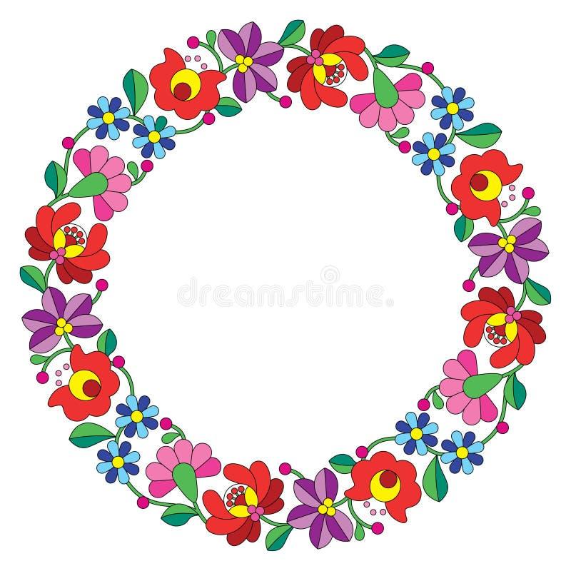 Kalocsai embroidery in circle - Hungarian floral folk pattern stock illustration