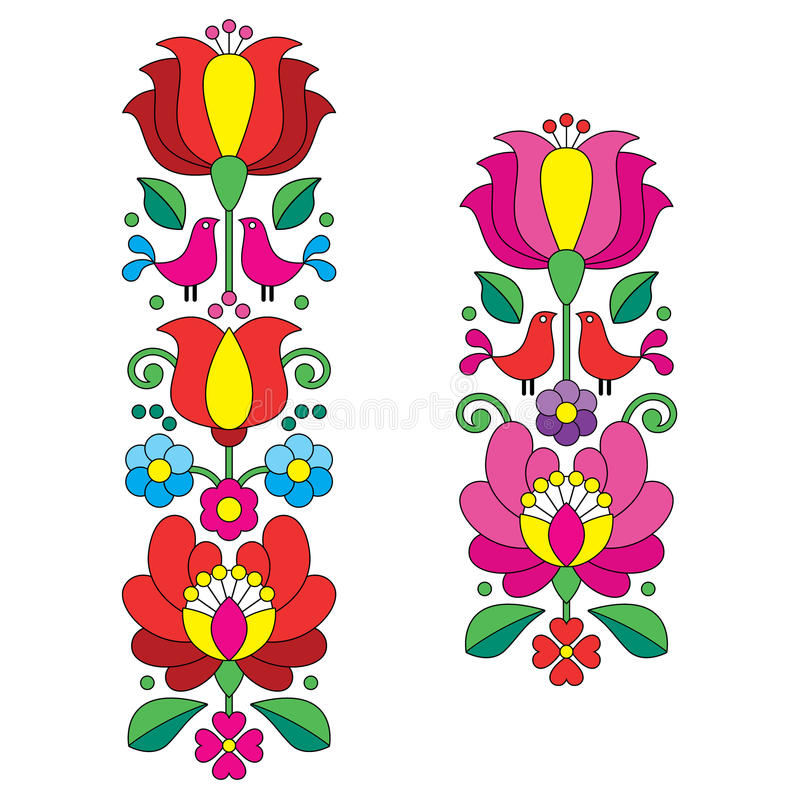 Kalocsai embroidery - Hungarian floral folk art long patterns vector illustration