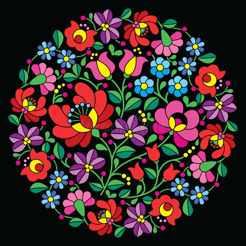 Kalocsai folk art embroidery - red Hungarian round floral pattern on black stock illustration