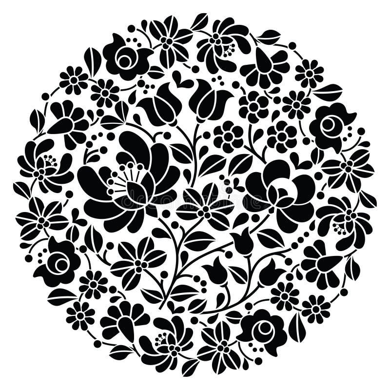 Kalocsai folkkonstbroderi - modell för folk för svart ungrarerunda blom- royaltyfri illustrationer