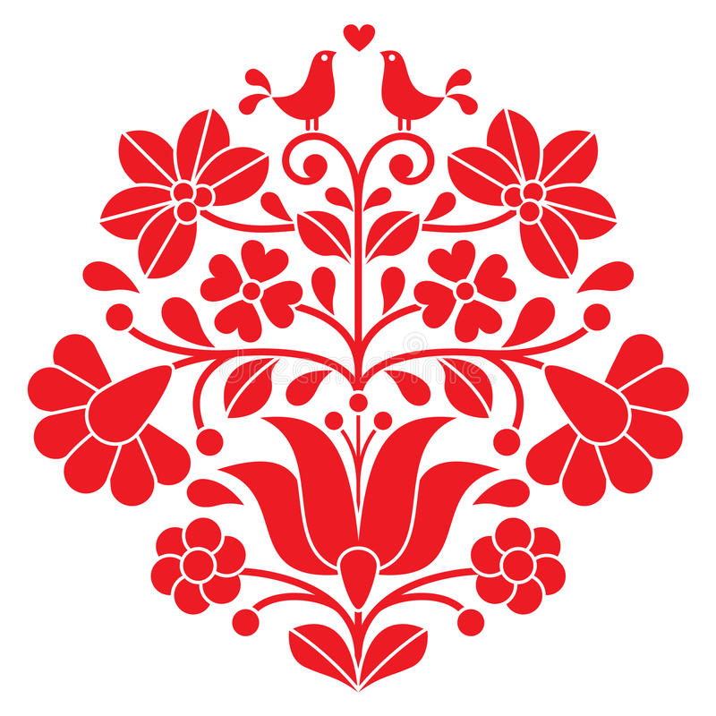 Free Kalocsai Red Embroidery - Hungarian Floral Folk Pattern With Birds Stock Image - 53177811