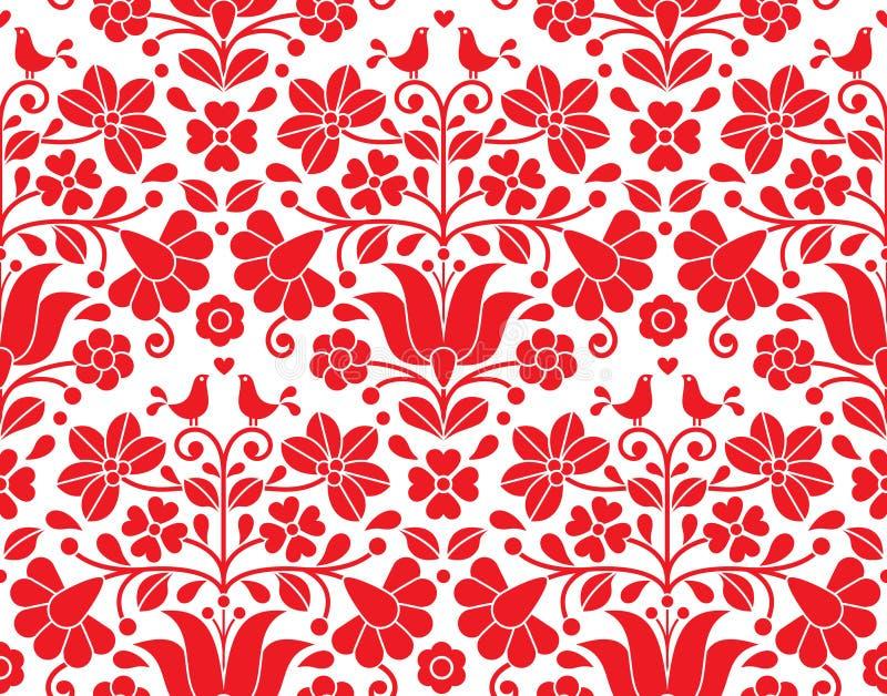 Kalocsai red floral emrboidery seamless pattern - Hungarian folk art background royalty free illustration