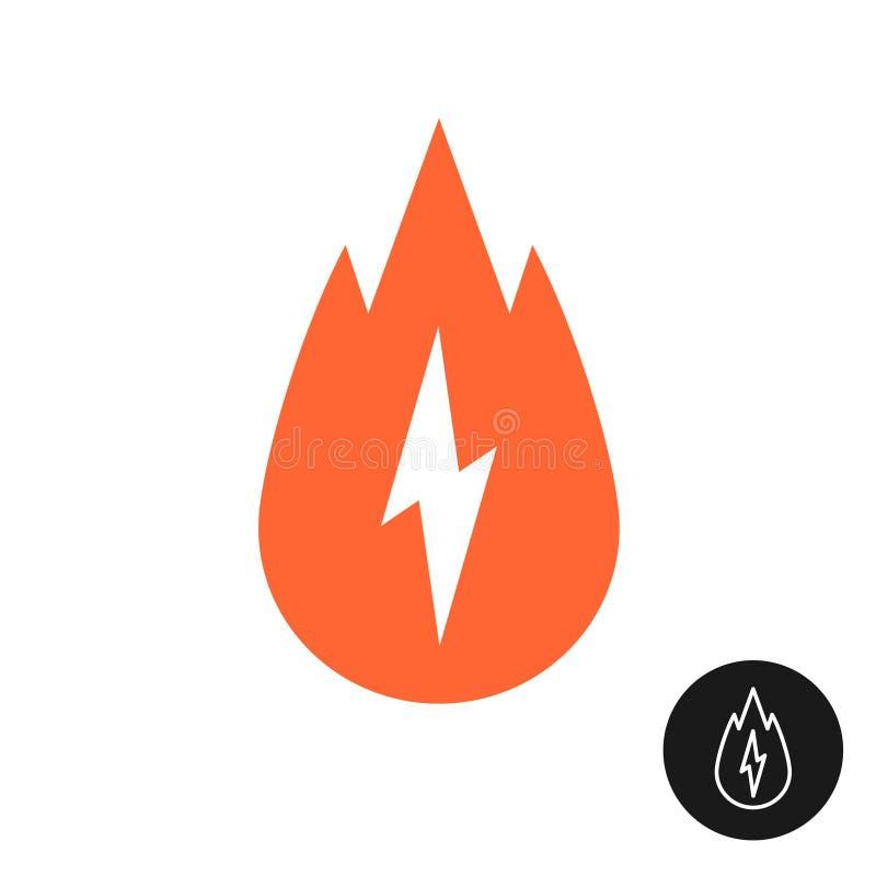 Kaloribrännskadasymbol med brand- och blixtbulten royaltyfri illustrationer