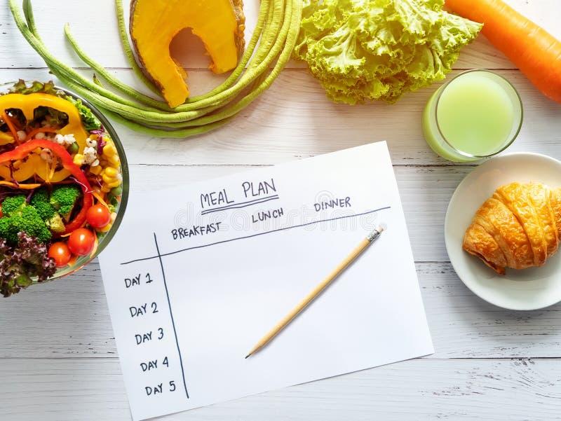 Kalorie kontrolują, posiłku plan, karmowa dieta i ciężar straty pojęcie, odgórny widok posiłku planu stół na papierze z sałatką,  zdjęcie stock