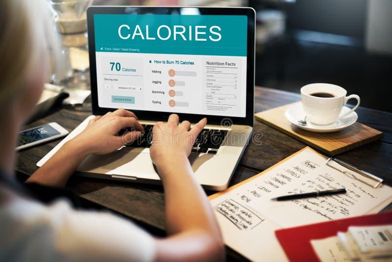 Kalorien Nahrungs-Lebensmittel-Übungs-Konzept- stockbild