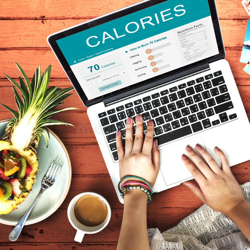 Kalorien Nahrungs-Lebensmittel-Übungs-Konzept- stockbilder