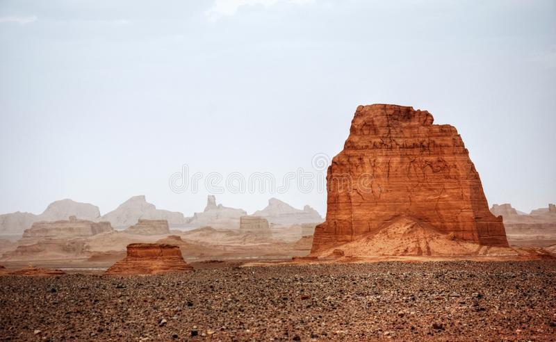 Kalouts or Yardangs in Lut desert Iran. The landscape of Lut desert widely referred to as Dasht-e Lut a large salt desert located in the province of Kerman stock photo