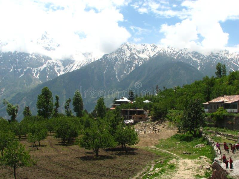 Kalpa Town, Himachal Pradesh, India. A scenic mountain and valley view of Kalpa Town, Himachal Pradesh, India stock photo