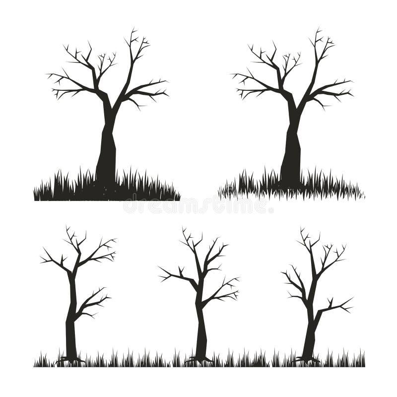 Kalt träd, svart konturvektorillustration royaltyfri illustrationer