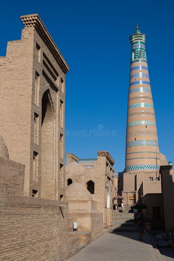Kalta Minor minaret in Khiva, Khorezm Region, Uzbekistan. Oriental buildings of old city of Itchan Kala. Khiva, Uzbekistan royalty free stock images