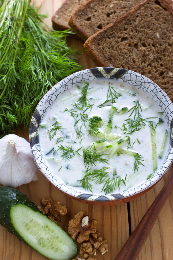Kalte bulgarische Suppe lizenzfreies stockbild