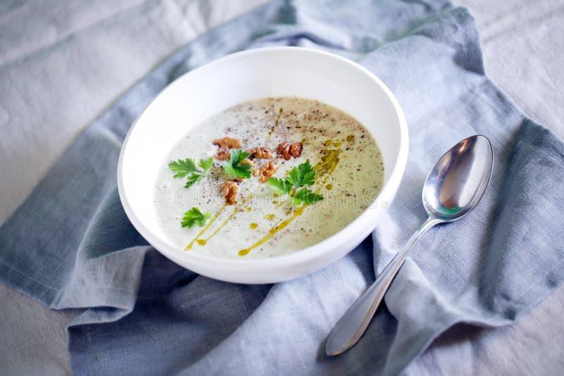 Kalte Jogurtsuppe mit Walnüssen, Olivenöl und Petersilie, bulgarisch lizenzfreie stockfotos