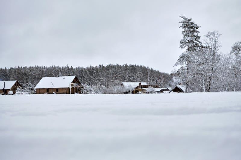 Kalte Landschaft des verschneiten Winters von ländlichen Häusern stockfoto