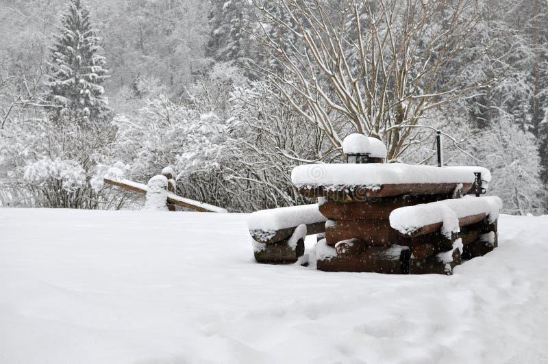 Kalte Landschaft des verschneiten Winters von ländlichen Häusern stockfotos