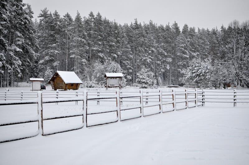 Kalte Landschaft des verschneiten Winters von ländlichen Häusern lizenzfreies stockfoto