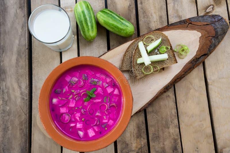 Kalte traditionelle litauische Gemüsesommersuppe machte von den Rote-Bete-Wurzeln, von der Gurke, vom Dill, von der Frühlingszwie stockbild