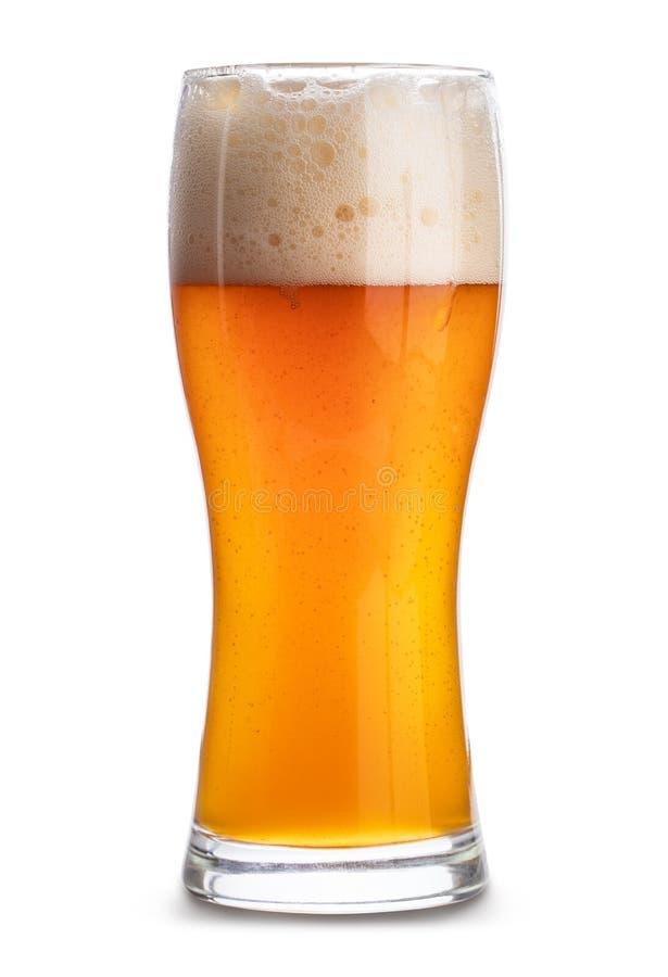 Kaltes Bier in einem Glas lokalisiert auf weißem Hintergrund Über Weiß stockbilder
