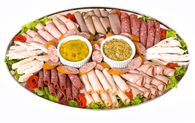 Kaltes Fleisch-Lebesmittelanschaffung-Mehrlagenplatte stockfotos