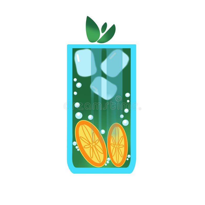 Kaltes gr?nes Getr?nkglas des Dummkopfs mit Blasen, Orange und Eis, gr?ne Bl?tter auf wei?em Hintergrund vektor abbildung
