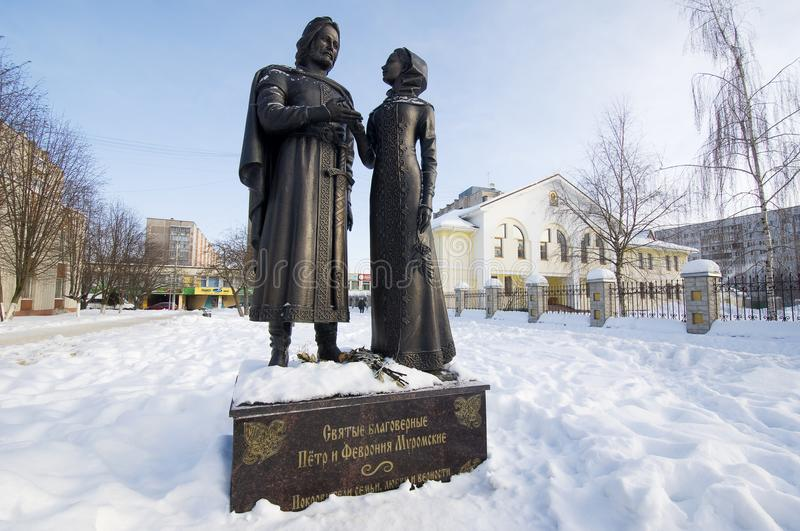 Monument to Peter and Fevronia in Obninsk stock image