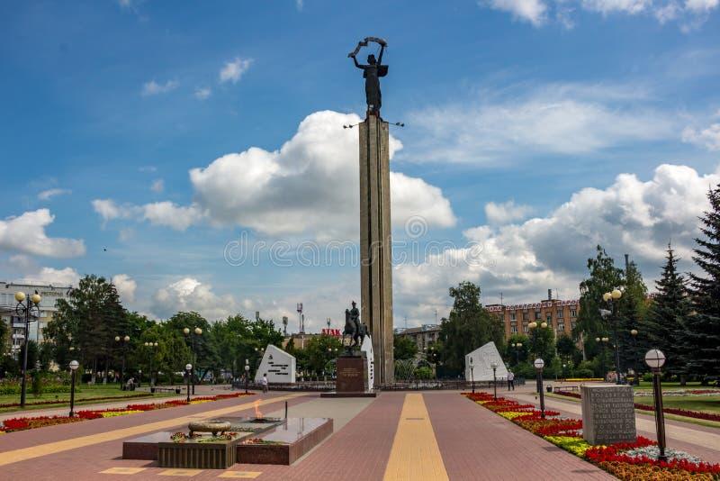 KALUGA, RUSSIA - AUG. 2017: Monument to Marshal of the Soviet Union Georgy Zhukov royalty free stock photos