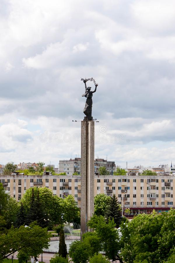 Kaluga, Russia - May 11, 2019: View of monument of Victory Square Ploshchad Pobedy from the Sky restaurant royalty free stock photo