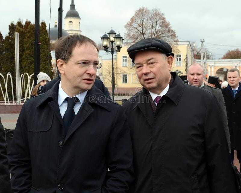 Minister of Culture of the Russian Federation Vladimir Medinsky and Kaluga Region Governor Anatoly Artamonov at the opening of the. KALUGA, RUSSIA - NOVEMBER 6 royalty free stock image