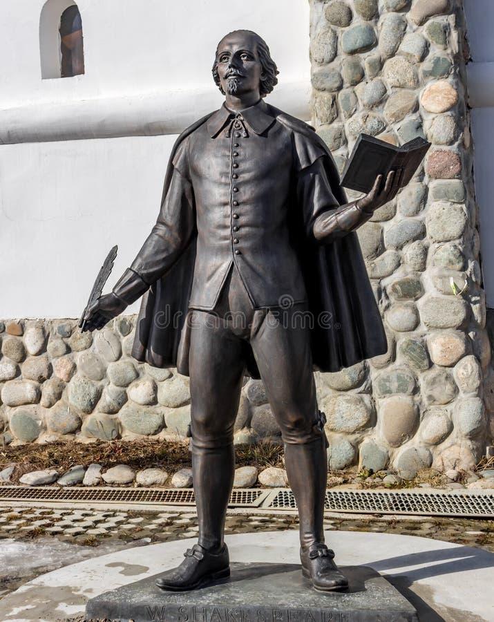 Kalugagebied, Rusland - Maart 2019: Monument aan de Engelse dichter en de dramaticus William Shakespeare royalty-vrije stock fotografie