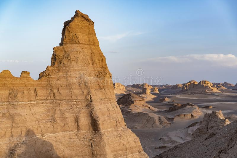 Kaluts in Lut desert, Iran.  royalty free stock images