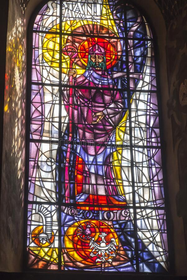 Kalwaria Zebrzydowska, Poland, 02 September 2018: A stained glass window depicting St. Stanislaus in the Marian and Passion stock images