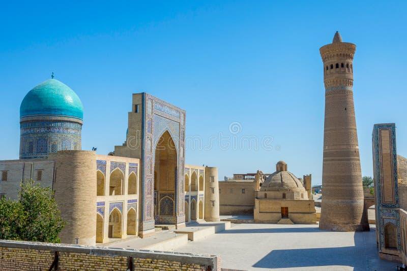 Kalyan尖塔和Mir我阿拉伯清真寺,布哈拉 库存图片