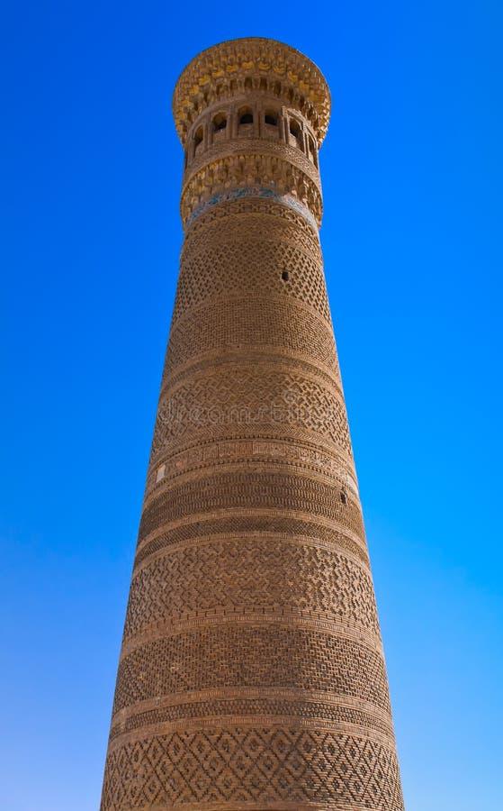 Kalyan, the biggest minaret of Bukhara, Uzbekistan stock photos