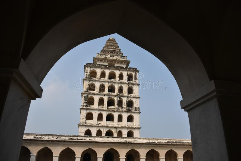 Kalyana Mahal på det Gingee fortet eller Senji Fort, Tamil Nadu fotografering för bildbyråer