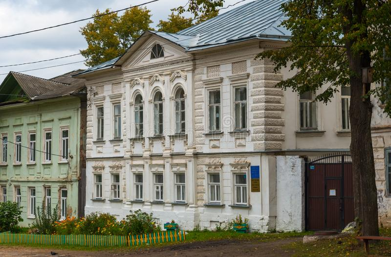 Kalyazin, Tver region, Russia, September 20, 2018: city comprehensive school, a cultural heritage object of 19th century. Kalyazin, Tver region, Russia royalty free stock image