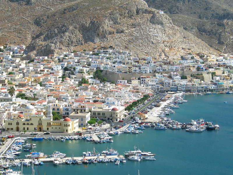Download Kalymnos Aerial View stock photo. Image of boats, docks - 220282