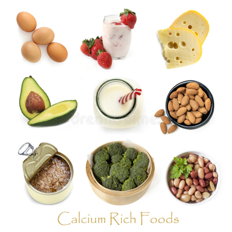 Kalzium Rich Foods Isolated auf Weiß lizenzfreie stockfotografie