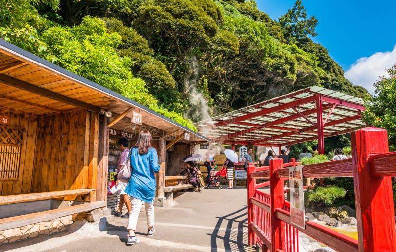 Kamado Jigokuor que cozinha o inferno do potenciômetro em Beppu, Oita, Japão imagem de stock