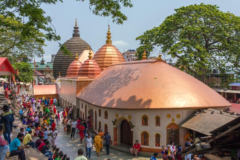 Kamakhya Mandir寺庙的顶视图在高哈蒂,阿萨姆邦状态,东北镇印度 图库摄影