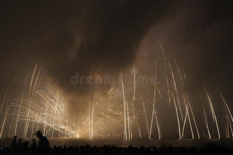Kamakura fireworks wrapped in clouds 2018 stock photo