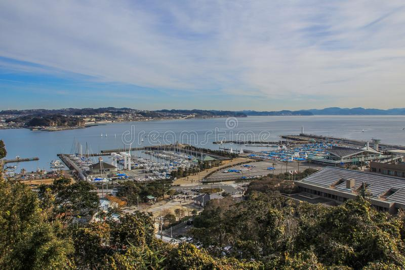 View of the bay and the architecture of Kamakura. royalty free stock photography