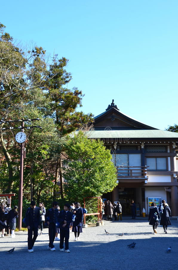 KAMAKURA, JAPAN - DECEMBER 2016: Students visit the temple. stock image