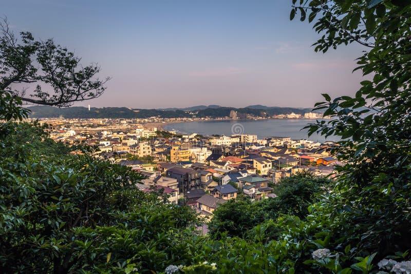 Kamakura - 6 juin 2019 : Vue panoramique de Kamakura vue du temple de Hasedera à Kamakura, Japon image stock