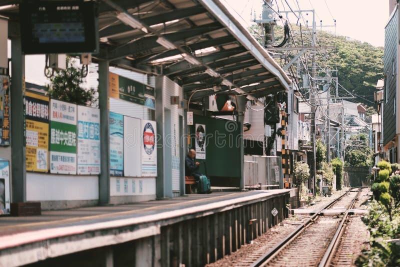 Kamakura spårvagnstation arkivfoto