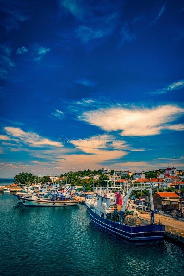 Kamariotissa port harbour on Samothrace Island in Greece during royalty free stock photography