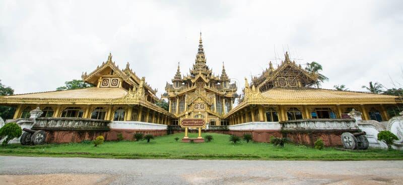 Kambawzathardi金黄宫殿在缅甸Bago, Kanbawzathadi宫殿由Bayinnaung (1551-1581 A国王建造 d ) 创建者  图库摄影