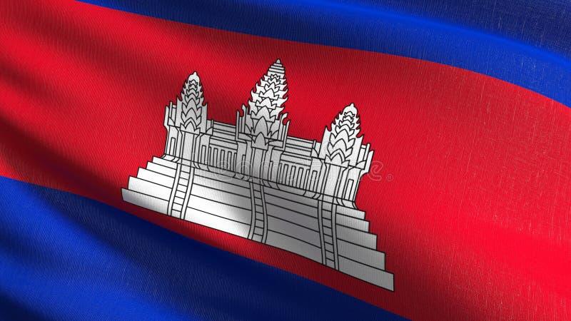 Kambodża flagi państowowej dmuchanie w wiatrze odizolowywającym Oficjalny patriotyczny abstrakcjonistyczny projekt 3D renderingu  royalty ilustracja
