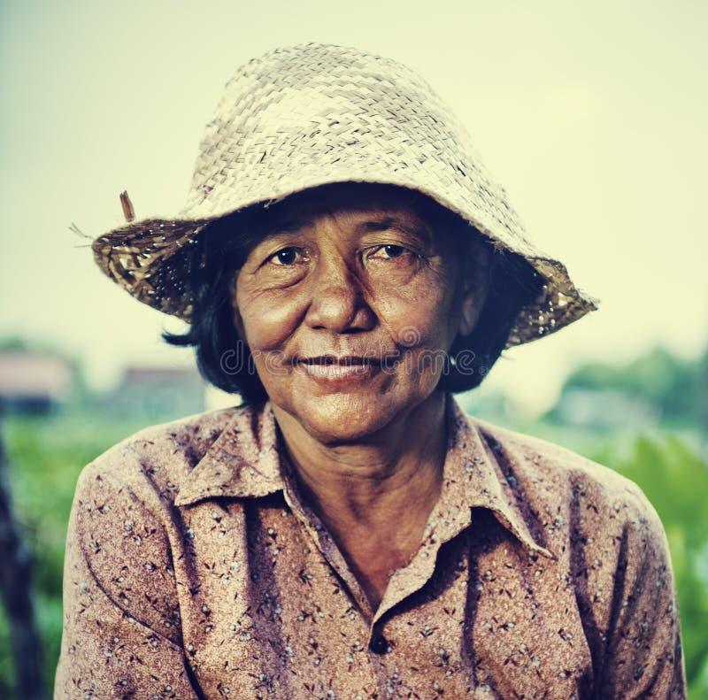 Kambodżański Lokalny Żeński Średniorolny portreta pojęcie zdjęcia stock