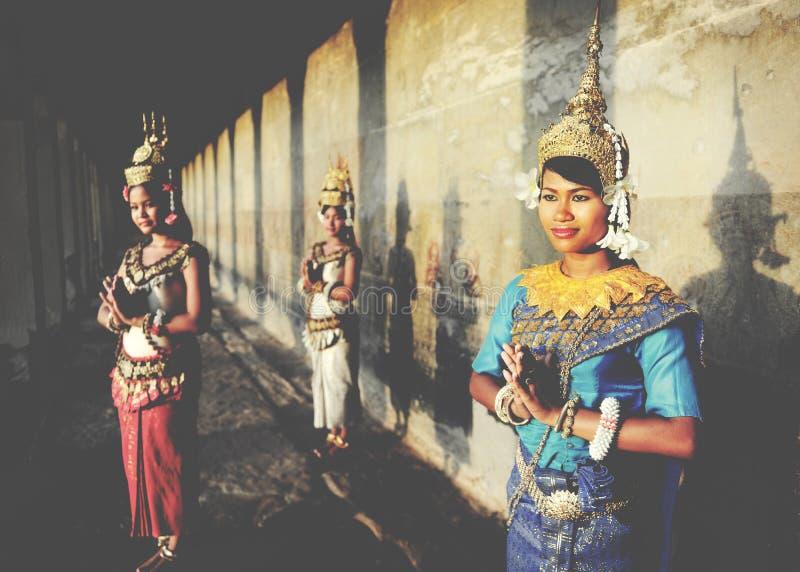 Kambodżański powitanie stylu Acient Angkor Wat Apsara pojęcie zdjęcie royalty free