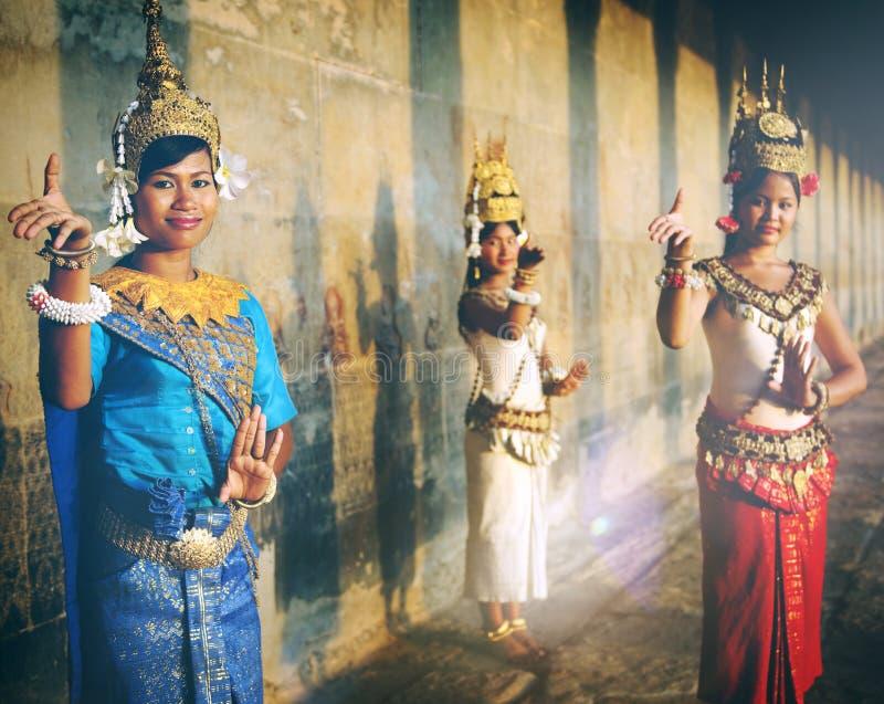 Kambodżański Tradycyjny kultury Apsara kobiety Tanquil pojęcie fotografia royalty free