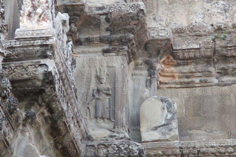 Kambodża Angkor w bareliefie na ścianie Angkor wat obraz royalty free